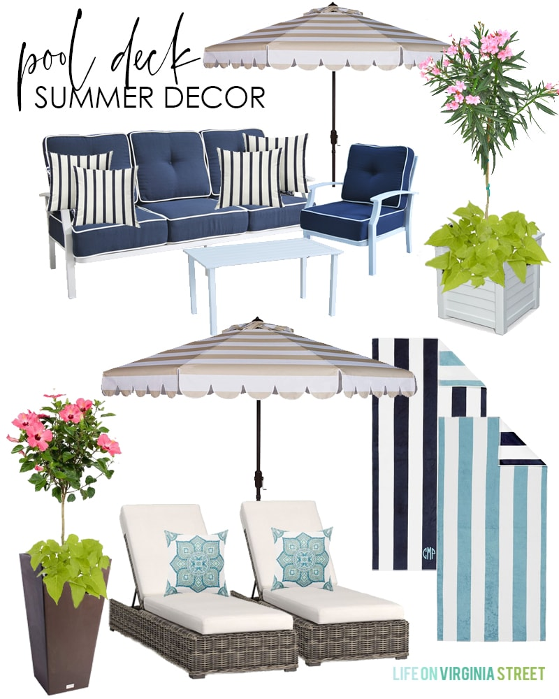Design board for a pool deck with wicker chaise lounge chairs, striped and scalloped umbrella, navy blue and white conversation set, striped outdoor pool towels, and colorful planters.