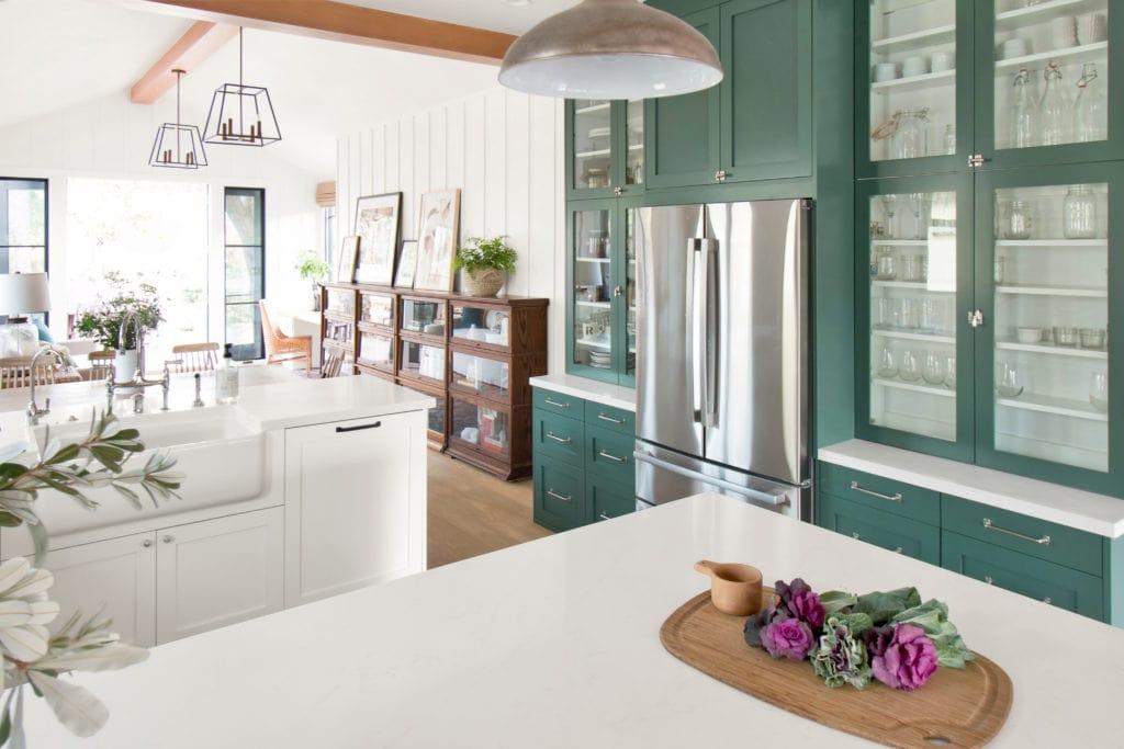 Benjamin Moore Lafayette Green Cabinets via Rosa Beltran Design