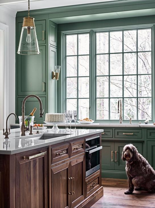 Farrow & Ball Green Smoke kitchen cabinets and window trim