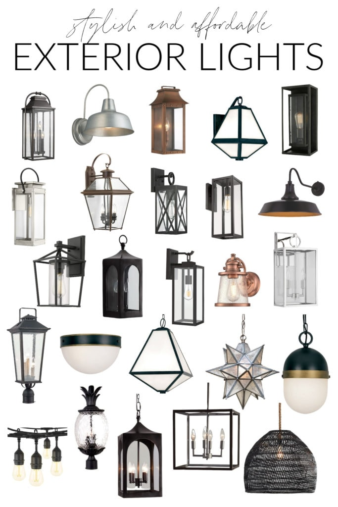 A collection of stylish and affordable exterior light fixtures for your home. Includes exterior wall mount fixtures, ceiling mount, post mount, and more in a variety of finishes and sizes!