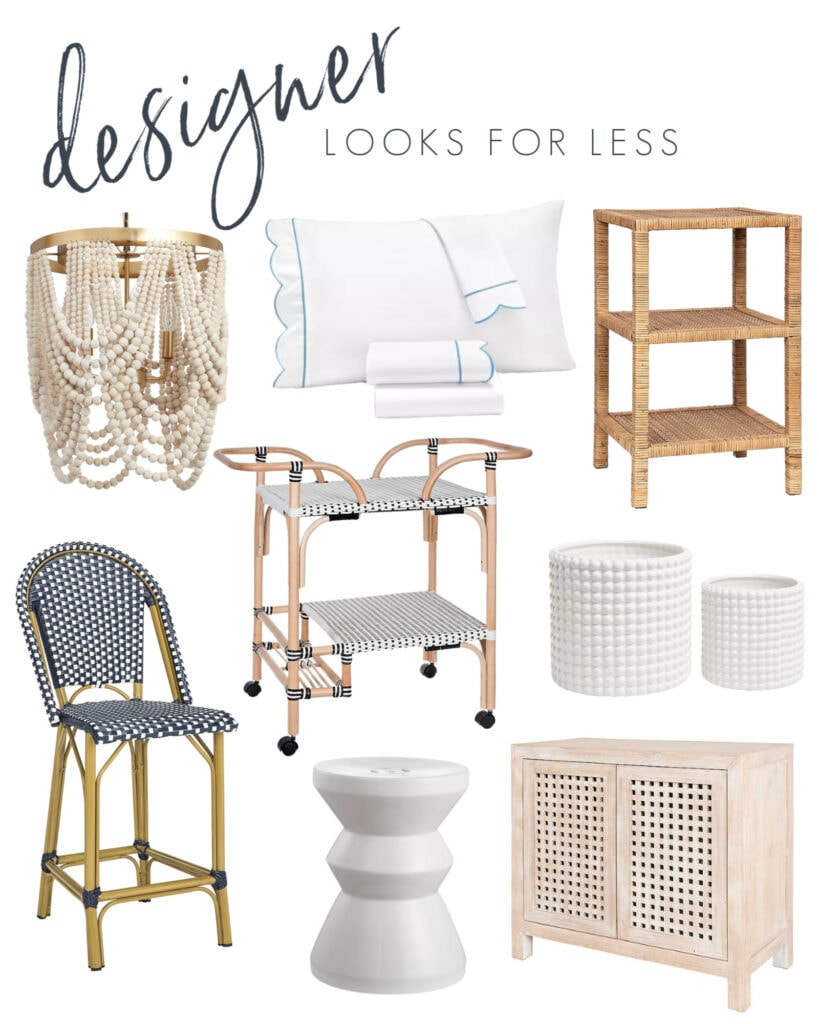 Designer looks for a less with a bead chandelier, blue and white scallop bedding, raffia side table, bistro counter stool, white hobnail planters, wood grid cabinet, and bistro bar cart!