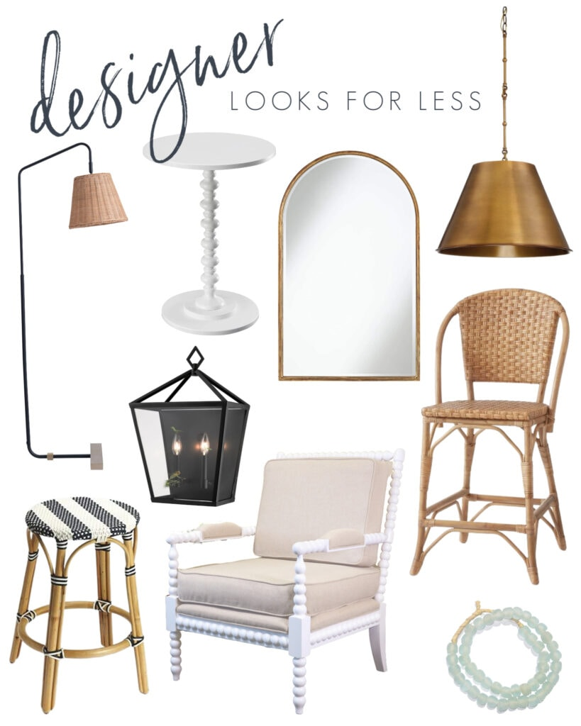Interior designer looks for less with a wicker floor lamp, white spindle table, gold arch mirror, gold cone pendant light, natural bar stool, white spindle chair, striped backless counter stool and recycled glass beads.