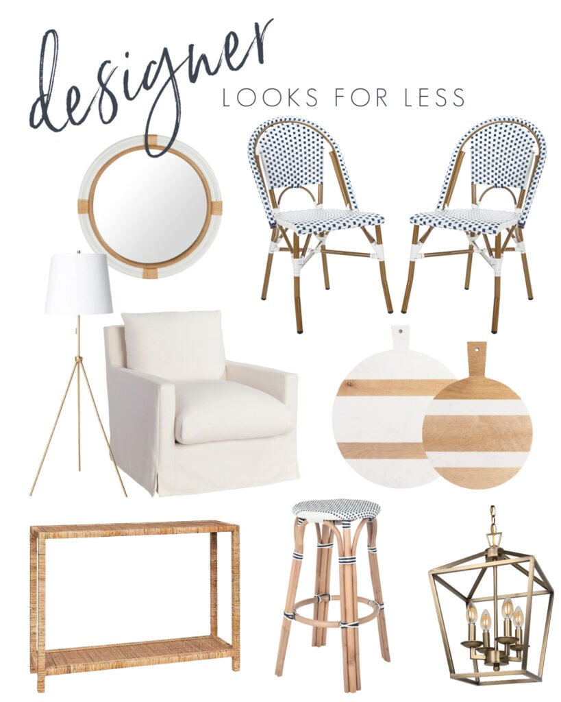 A collection of interior design looks for less! Includes French bistro chairs, linen armchair, tripod lamp, nautical mirror, white striped cutting board, rattan console table, gold Darlana lantern look for less, and more!