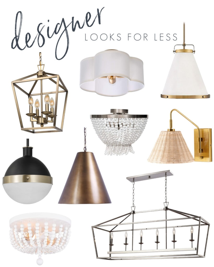 Interior design look for less lighting options! Includes a gold pendant light, David Hicks light for less, wicker sconce light, white bead flush mount light, scallop light fixture, white and gold cone pendant light and more!
