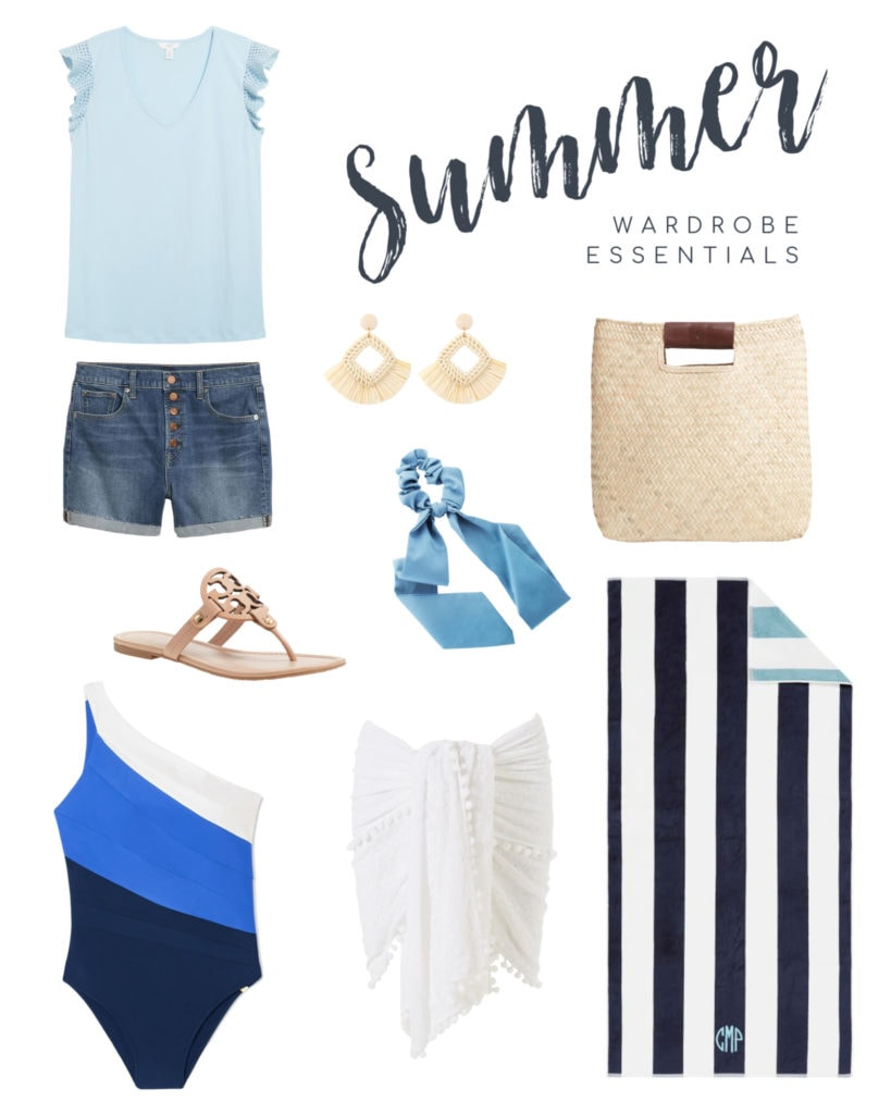 Summer outfit ideas including a ruffle sleeve t-shirt, denim shorts, raffia earrings, colorblock swimsuit, striped beach towel, straw tote and more!