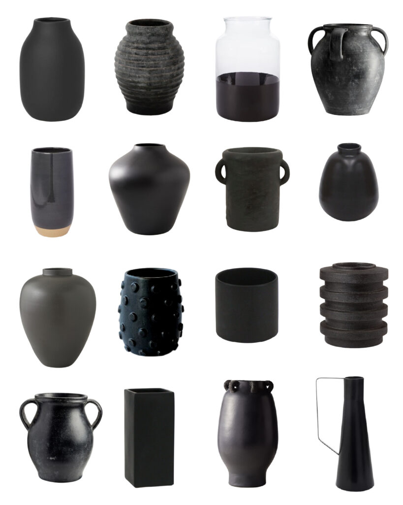 A collection of black vase options. The perfect accessory for fall decorating!