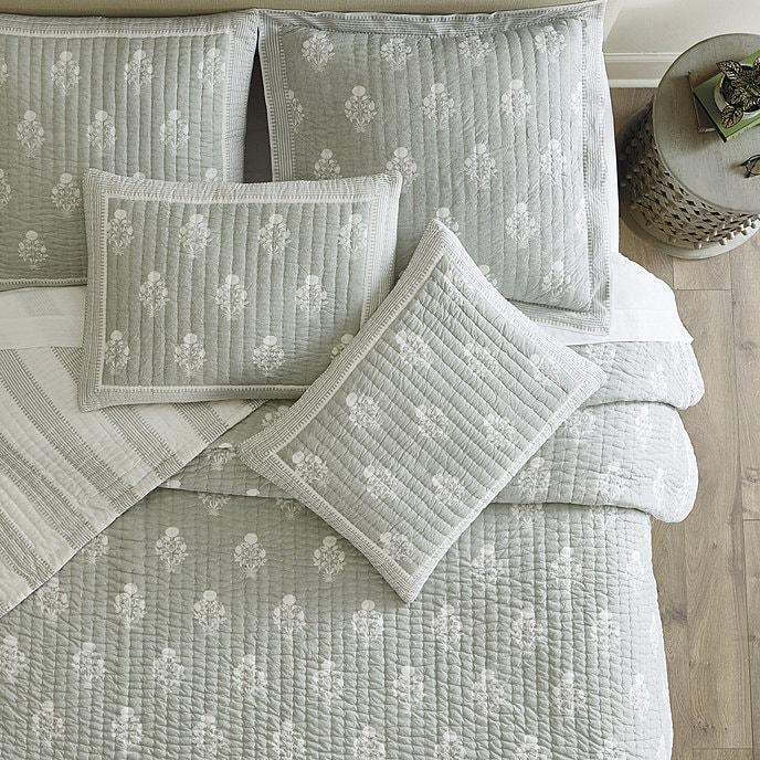 Block Print Bedding in 'Spa'