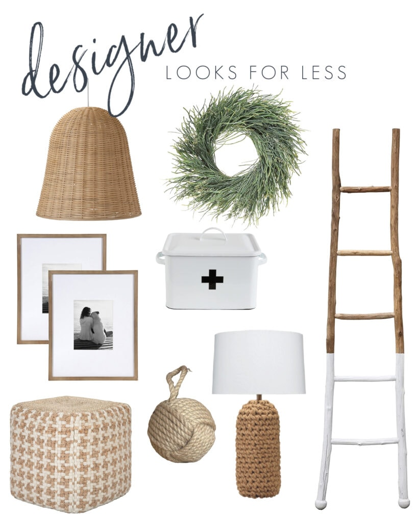 Some interior design look for less options including basket pendant lights, a paint dipped ladder, wood gallery wall frames, a Swiss cross medicine box, houndstooth pouf, rope door stopper, woven lamp and more!
