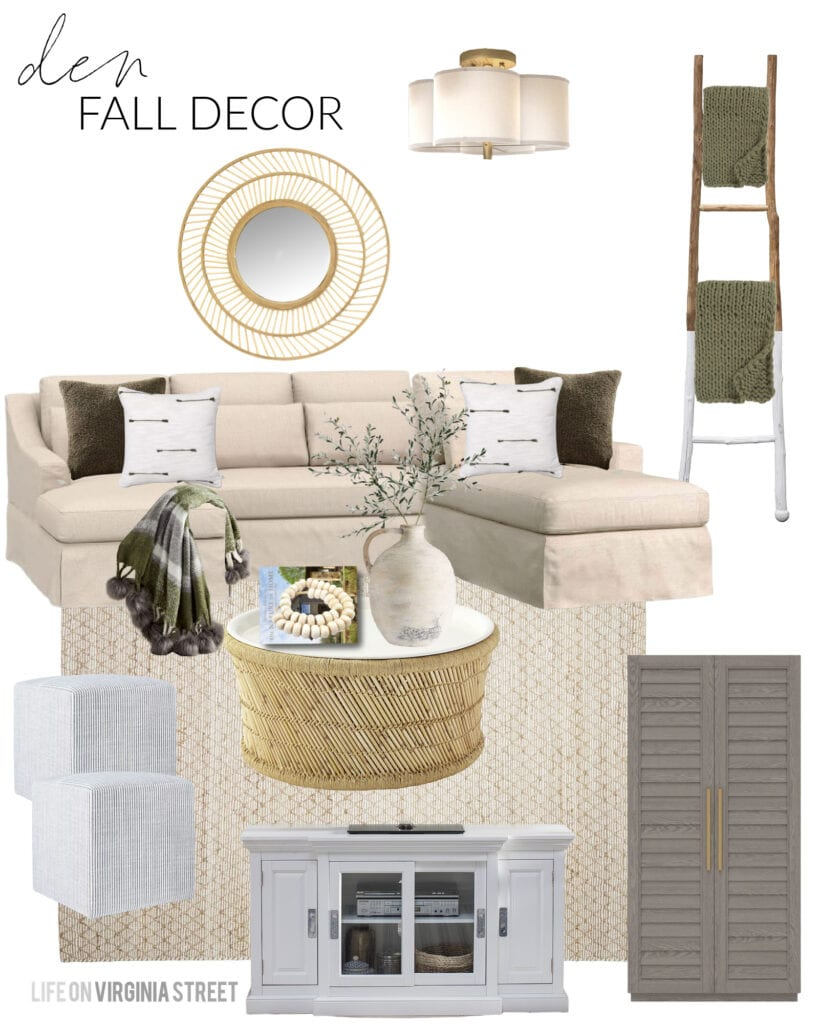 This fall design board for a den or TV room includes a linen sectional, shutter cabinet, round coffee table, white TV stand, striped ottoman cubes, scallop light fixture, blanket ladder and olive green pillows!