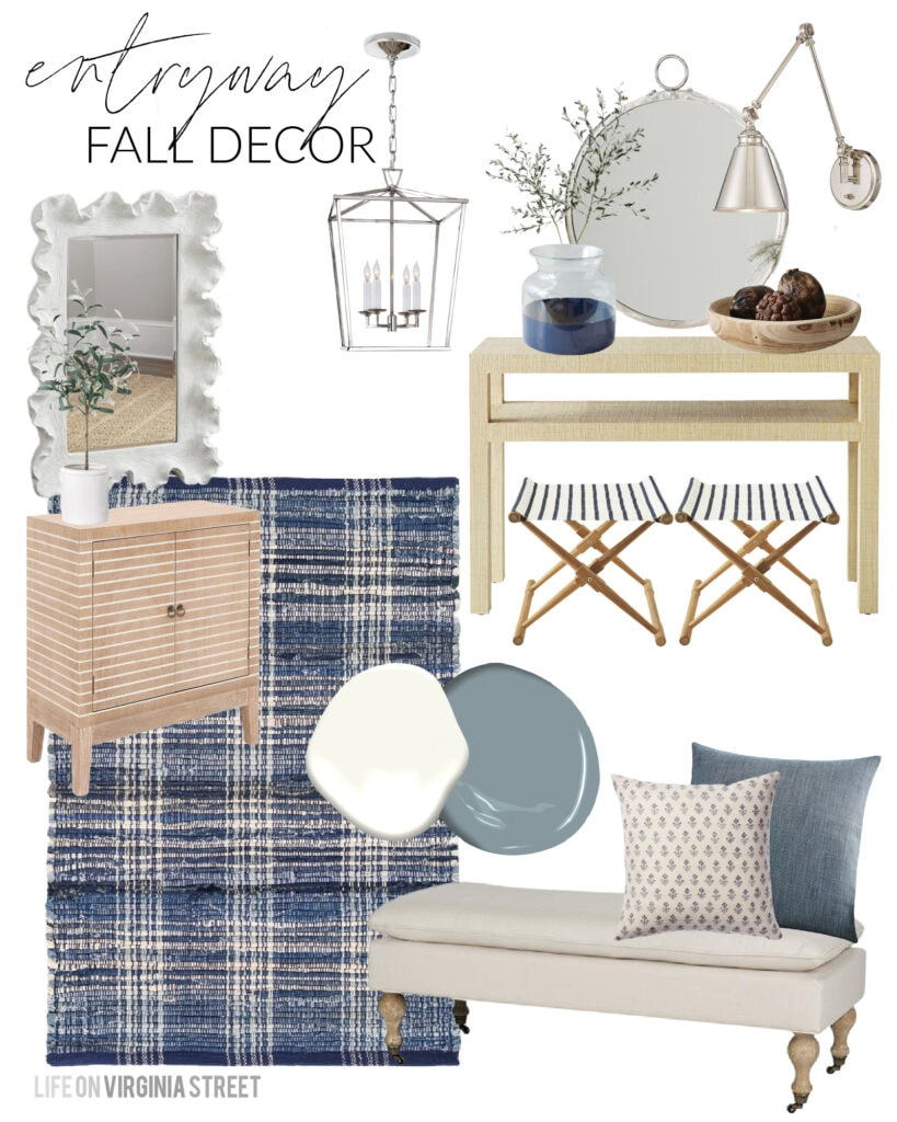An entryway design board featuring neutral furniture and fall decorations! Lots of gorgeous fall design boards in this post!