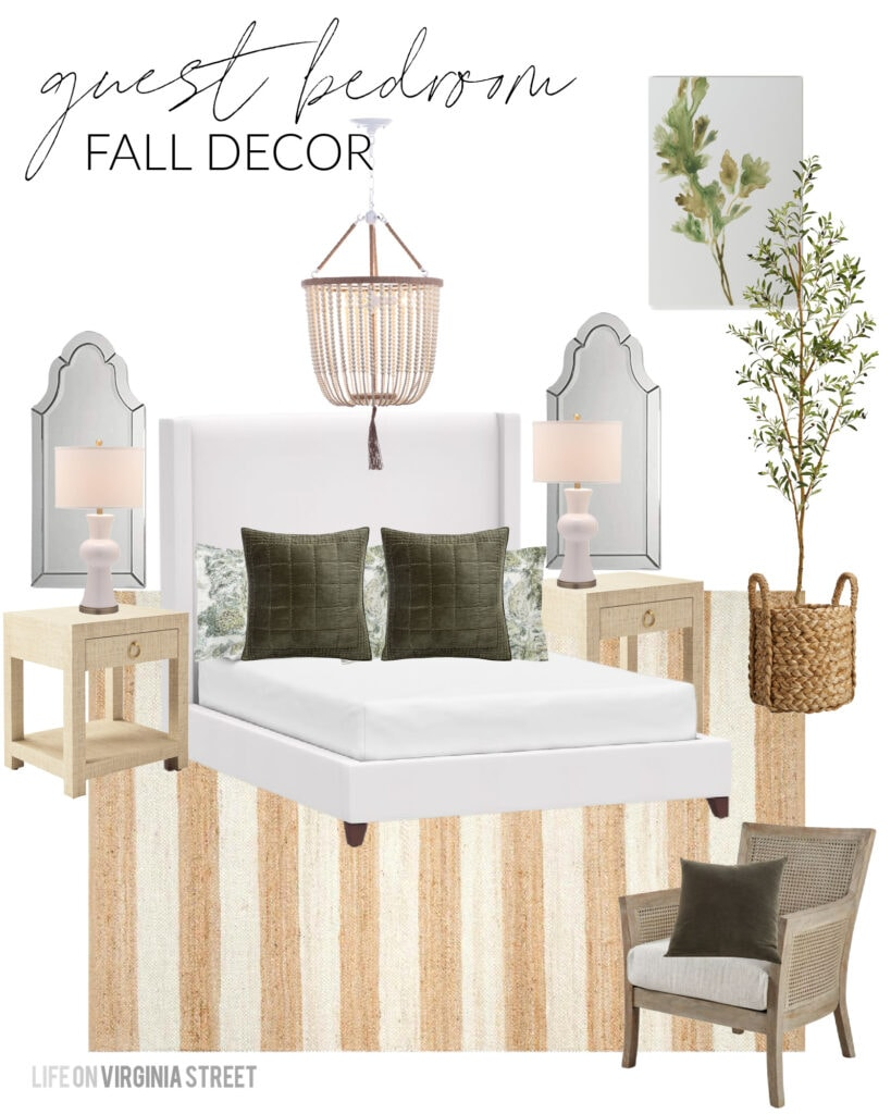 Fall design boards including this beautiful option for a guest bedroom! A white upholstered bed is paired with a striped jute rug, cream bead chandelier, white ceramic lamps, arched mirrors, cane chair, raffia nightstands, olive green velvet pillows, watercolor art canvas, and an olive tree in a basket.