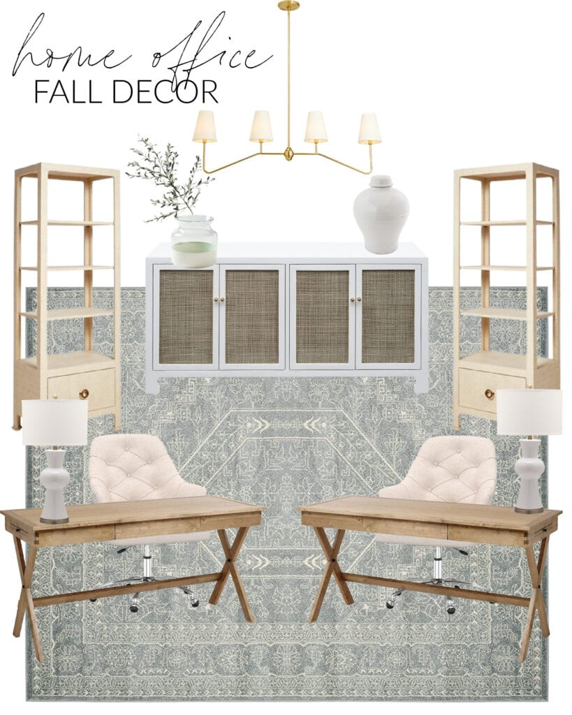 A home office fall decorating design board. Includes wood campaign desks, linen rolling office chairs, white ceramic lamps, a cane credenza, linear chandelier, olive stems, raffia bookcases and a large slate blue patterned rug.