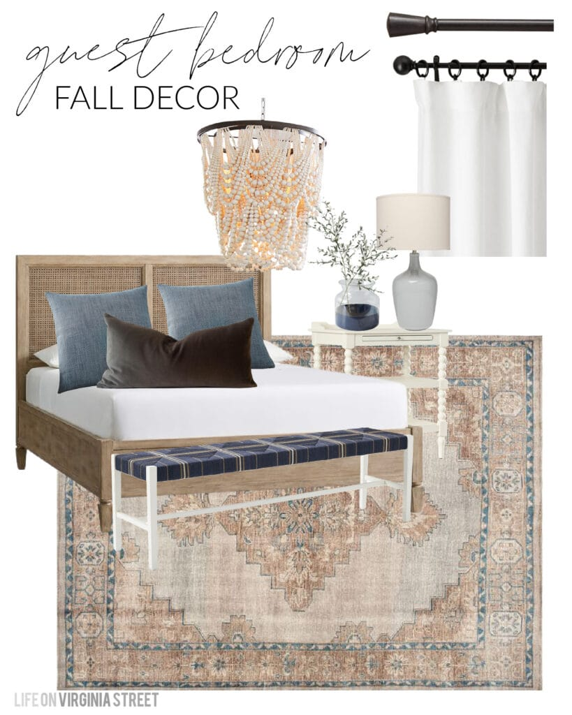 Guest bedroom design board for fall with a wood cane bed, navy blue woven bench, vintage style rug, blue linen pillows, brown velvet pillow, white linen drapes, white spindle nightstand, and a wood bead chandelier.