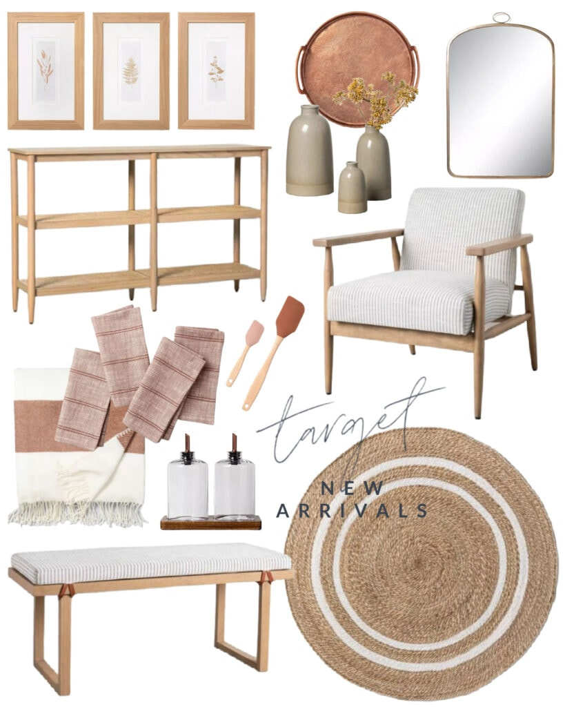 Gorgeous new home decor pieces from Hearth & Hand including a cane console table, botanical art, striped wood bench, blush-tones kitchen accessories, a round jute mirror, copper tray, arched brass mirror and more!