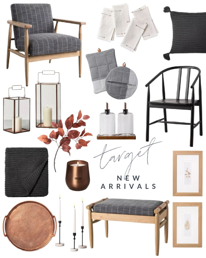 Loving these new Target home decor pieces! The dark wood mixed with moody gray striped upholstery, chunky knit throw pillows and blankets, copper tray, fall candles, rust colored Aspen leaves, botanical art and lanterns are all so perfect for fall decor!