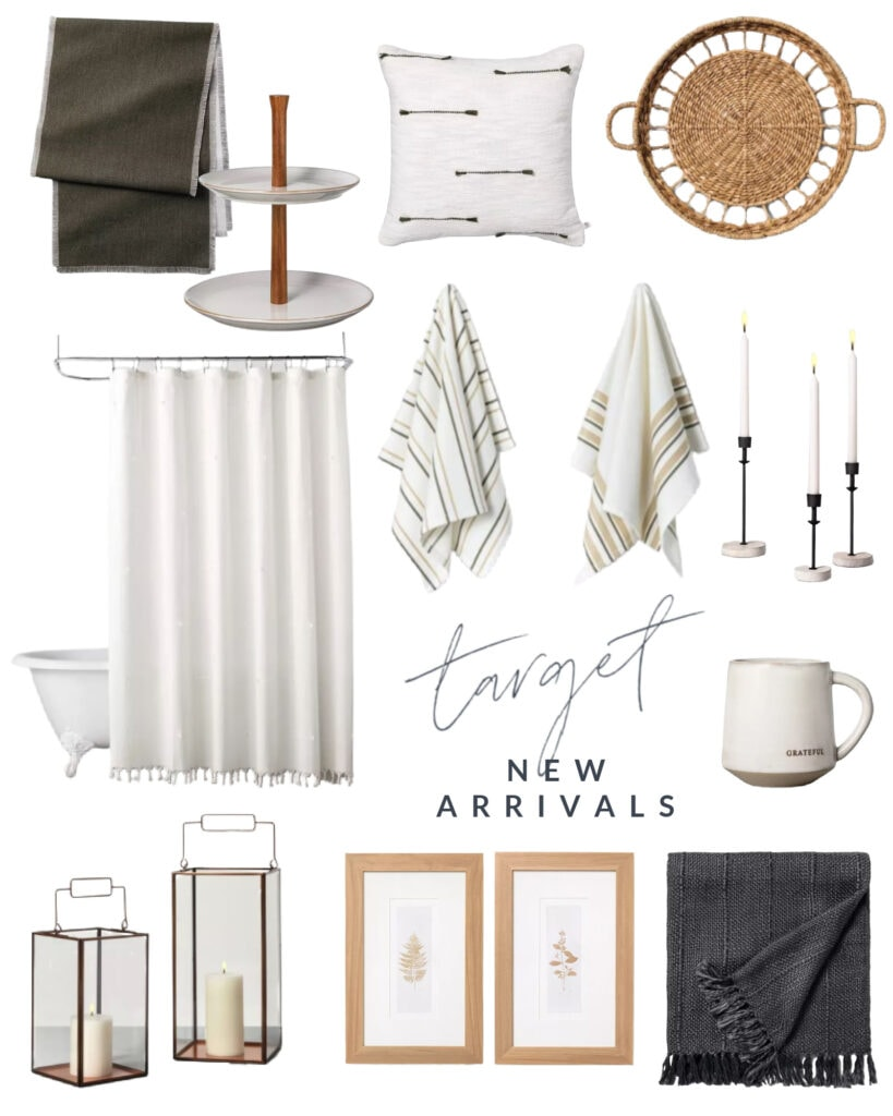 Cute new Target home decor finds from the Hearth & Hand line. I love the new table runner, fringe shower curtain, kitchen hand towels, round woven basket, botanical art, and more!