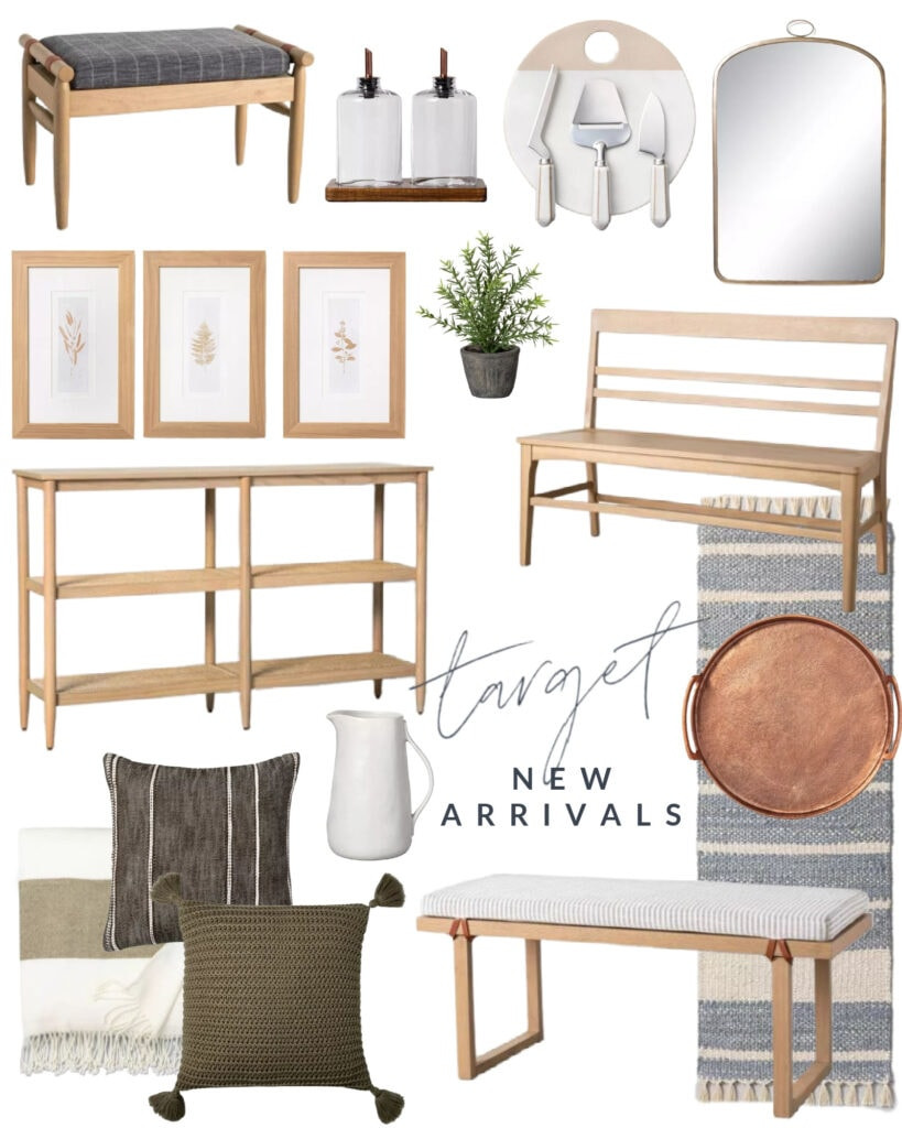 New Hearth & Hand home decor from Target. Includes a wood bench, cane console table, botanical art, arched mirror, chunky knit throw pillows, striped rug, copper tray and more!