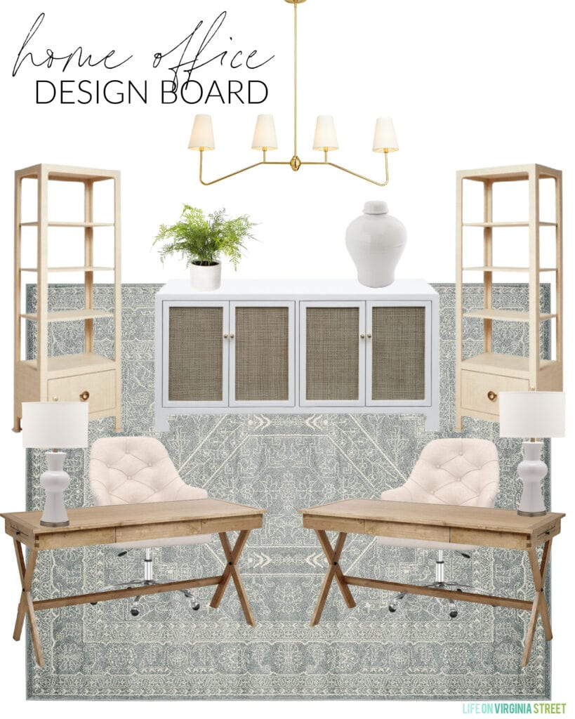 A home office design board with wood campaign desks, tufted rolling chairs, a cane cabinet, two tall bookcases, a linear chandelier, and an affordable patterned rug.