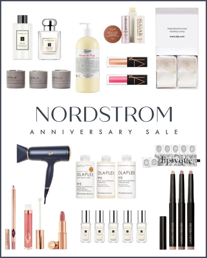 Nordstrom Anniversary Sale beauty favorites including Jo Malone cologne, T3 hair dryers, candles, Nars lip oil, silk pillowcases, Olaplex hair care, Charlotte Tilbury Pillowtalk favorites, and more!