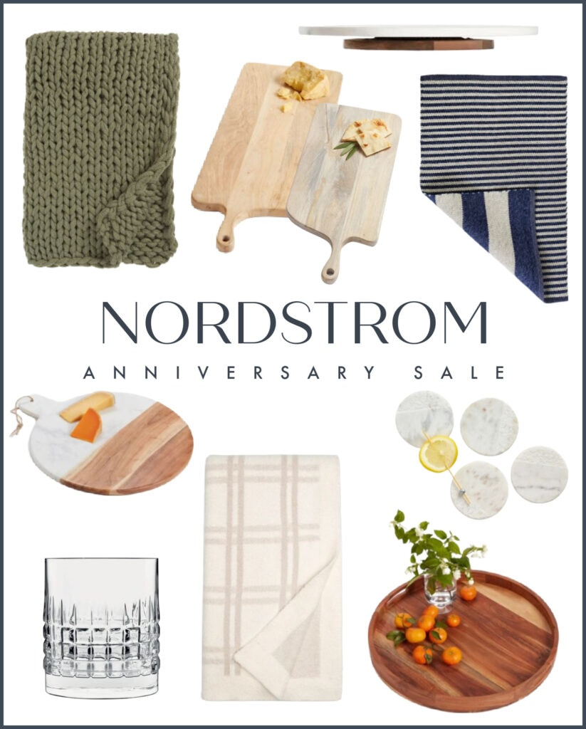 Some top picks from the Nordstrom Anniversary Sale. These home decor items include a chunky knit throw blanket, plaid whiskey glasses, a marble and wood round serving board, a reversible striped rug, Barefoot Dreams plaid throw blanket, marble coasters and more!