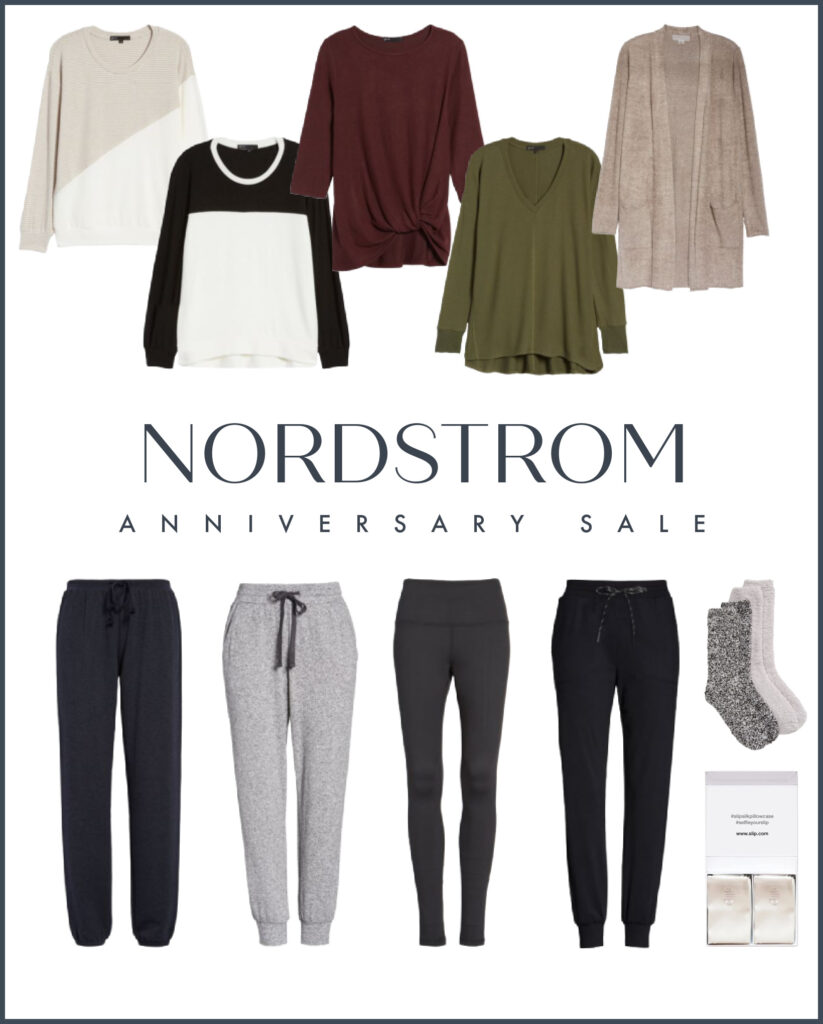 Lounge wear favorites from the 2020 Nordstrom Anniversary Sale. Includes cozy tops and tunics, joggers, leggings, cozy socks and silk pillowcases!
