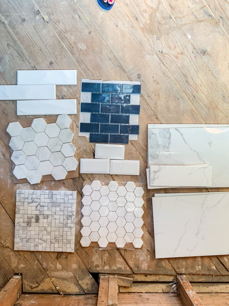 Tile sampleTile samples include beveled white subway tile, glossy navy blue subway tile, carrara marble hex tiles, basketweave marble tile, and more!Tile samples include beveled white subway tile, glossy navy blue subway tile, carrara marble hex tiles, basketweave marble tile, and more!s include beveled white subway tile, glossy navy blue subway tile, carrara marble hex tiles, basketweave marble tile, and more!