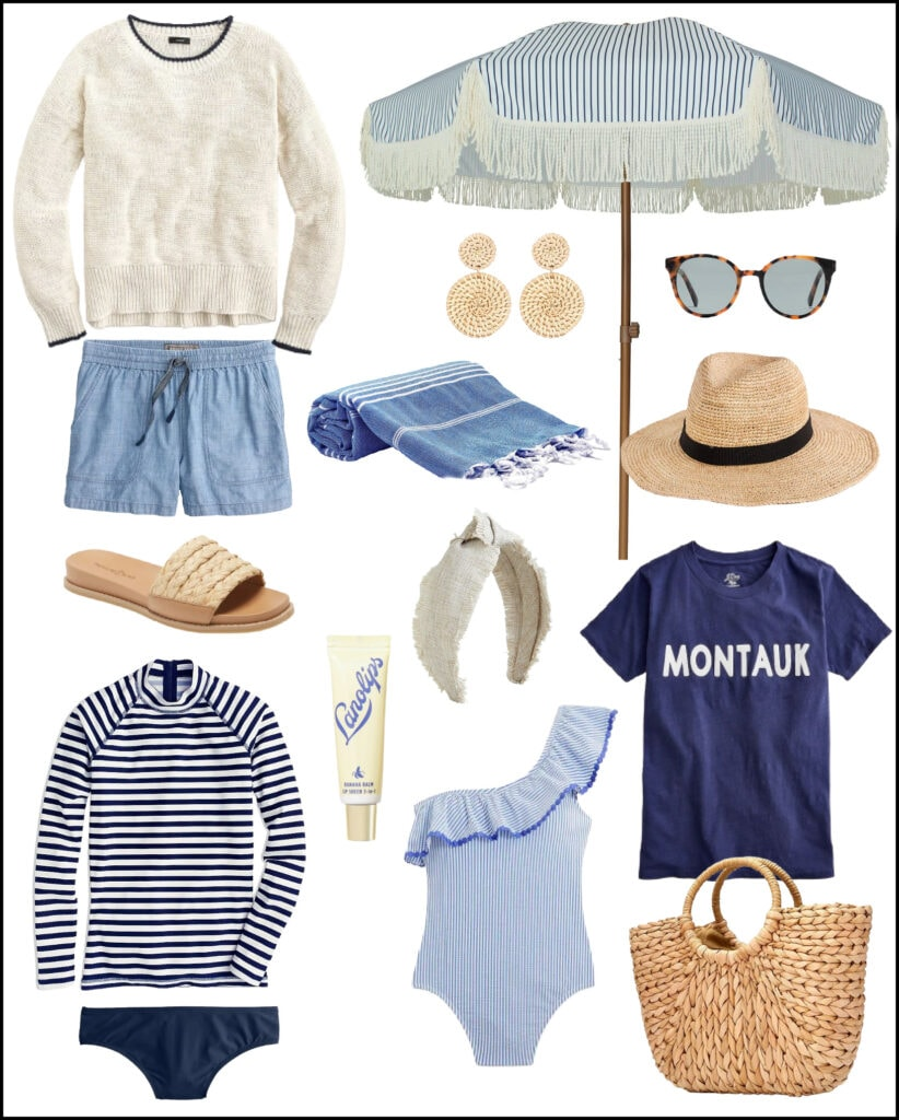 Cute summer outfit ideas including a beach sweater, chambray shorts, slide sandals, striped umbrella, straw bag, seersucker swimsuit and more!