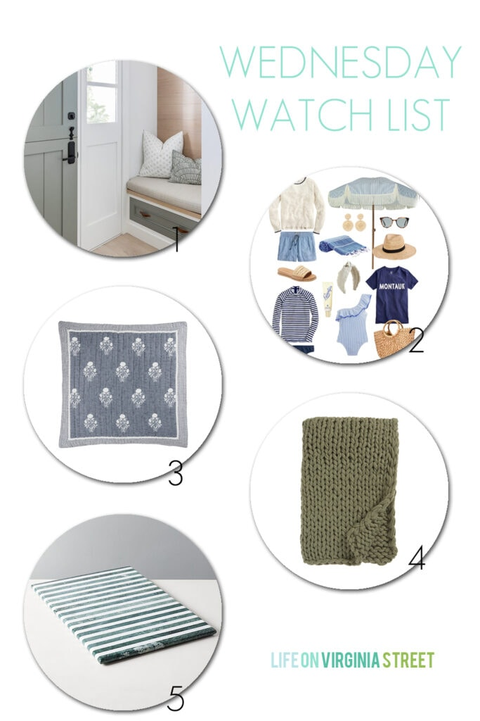 Sharing my top picks for the week including a stunning before & after home makeover, summer beach inspired outfits, cute quilted block print bedding, a chunky knit throw blanket, and striped marble serving boards.