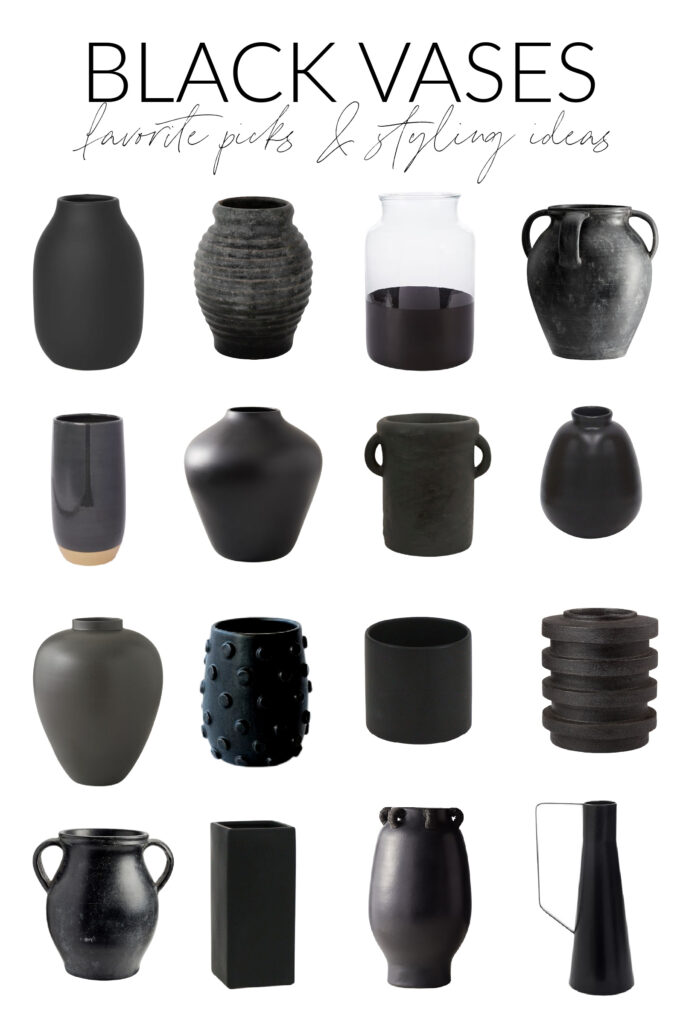A collection of black vase options to use in fall and winter styling.