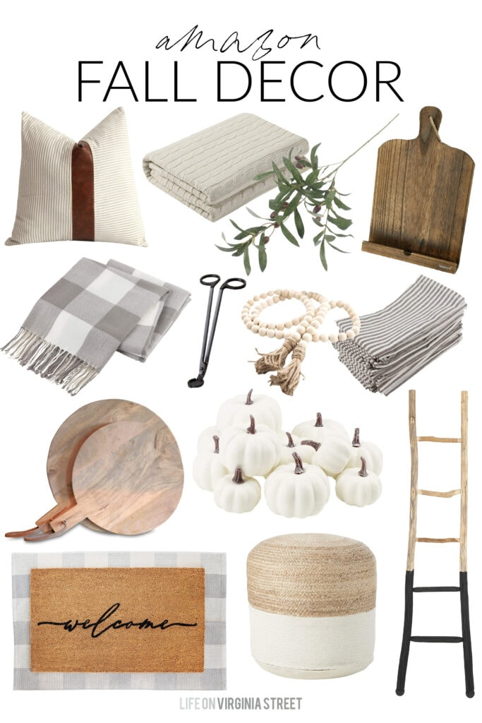 A collection of Amazon fall decor finds that are perfect for decorating your home for fall! Includes wood bread boards, a blanket ladder, front porch rugs, mini white pumpkins, faux olive stems, buffalo check throw blankets, and more!