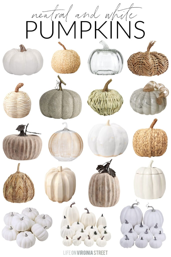 A collection of neutral and white pumpkin decor finds for a variety of decorating styles. These faux pumpkins include raffia, ceramic, plastic, wood, and more options!