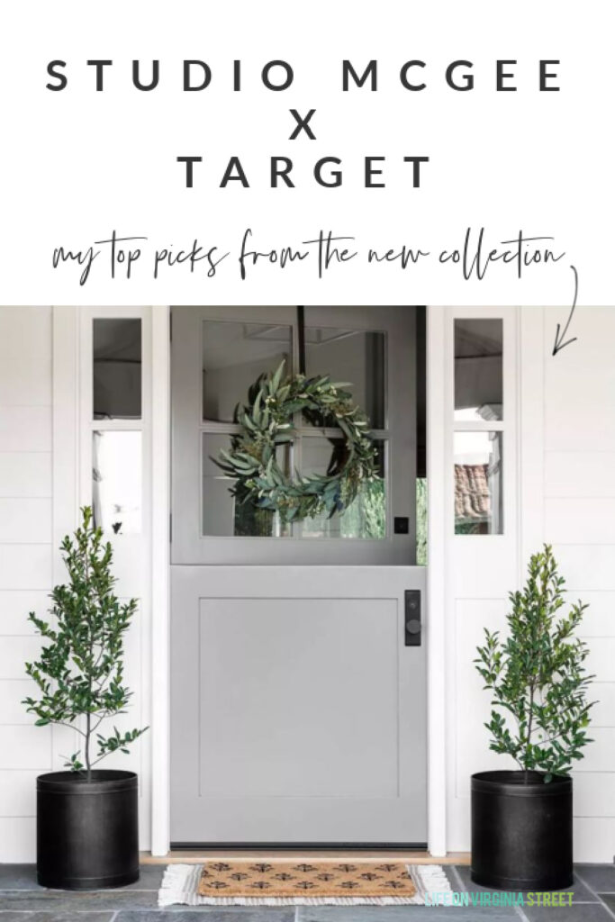 Top picks from the Studio McGee & Threshold collection at Target! A cute front porch with gray Dutch door, black planters, faux eucalyptus wreath, block print doormat and a striped outdoor rug.