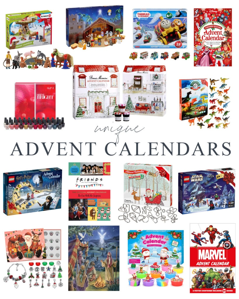 A collection of cute and unique Advent calendars for children and adults! Includes farm animal, Harry Potter LEGO, Star Wars LEGO, slime kits, OPI nail polish, charm bracelet kits and more!