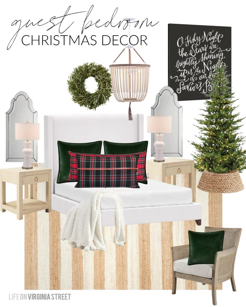 A Christmas bedroom design board with a white upholstered bed, velvet pillows, plaid lumbar pillows, white bead chandelier, striped rug, a natural Christmas tree and a 'O Holy Night' word art canvas.