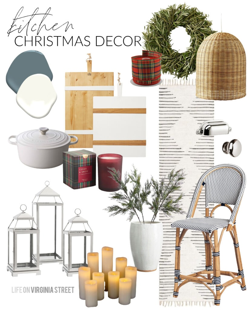 A Christmas kitchend design board with bistro counter stools, basket pendant lights, olive wreath, silver lanterns, and flameless candles.