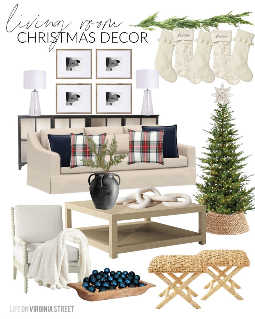 2020 Christmas Design Boards for decorating ideas. This one shows a Christmas living room with linen sofa, Stewart plaid pillows, ivory chunky knit stocking, a natural Christmas tree, and a wood bowl filled with ornaments.
