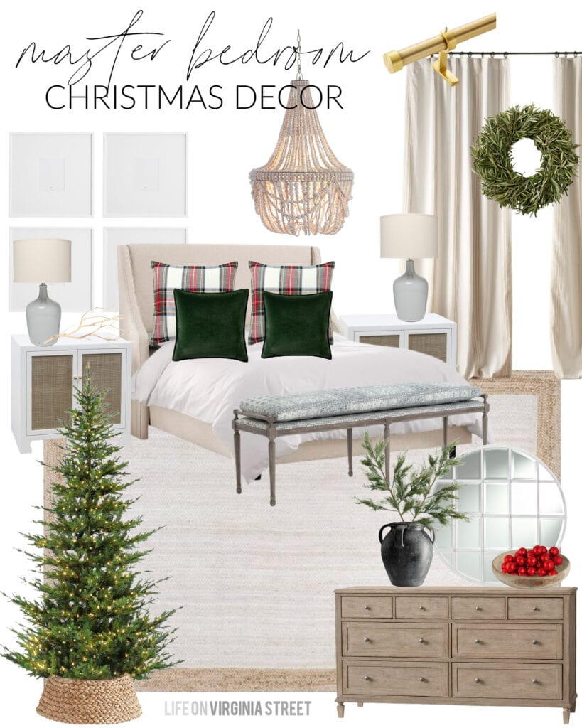 Our bedroom Christmas design board with an upholstered bed, white jute rug, wood bead chandelier, light wood dresser, cane nightstands, and Stewart plaid bedding.