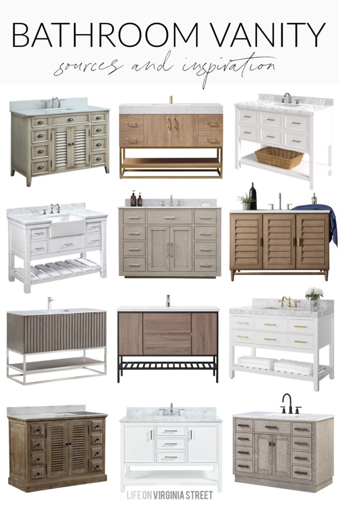 """A collection of 48"""" bathroom vanity ideas that work well for a variety of decorating styles and bathroom plans. Includes light wood vanities, white bathroom vanities, colored vanities, and more!"""