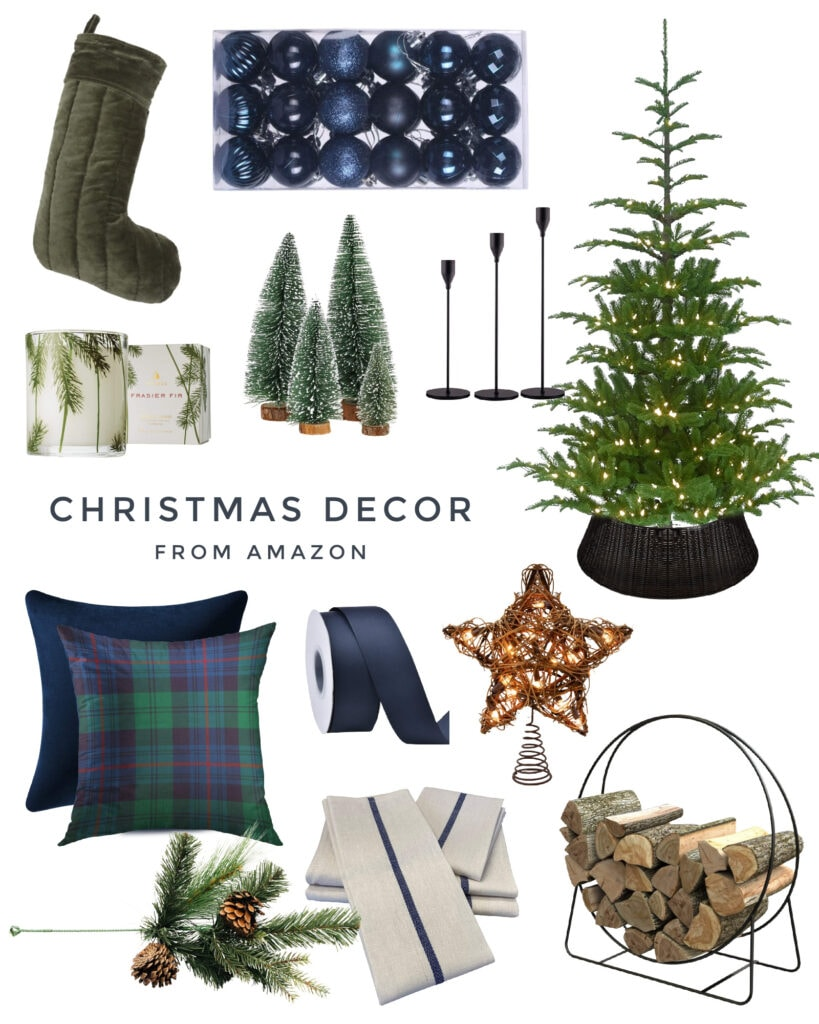 Amazon Christmas decor including navy blue ornaments, tartan plaid pillows, a natural fake tree, woven tree collar, velvet stockings, round iron wood holder, rattan tree topper, and tall candlesticks.