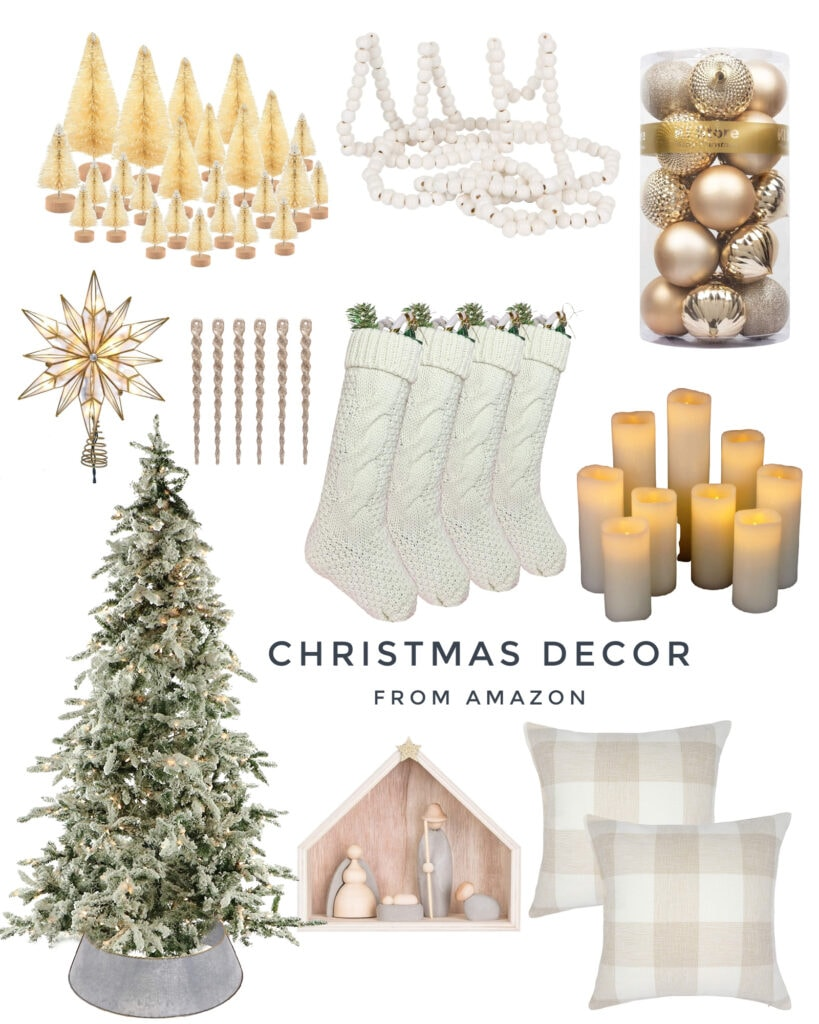 Christmas decor from Amazon, like a natural wood nativity scene, chunky knit stockings, a flocked Christmas tree, neutral bottlebrush trees, metallic ornaments, wood bead garland and more!