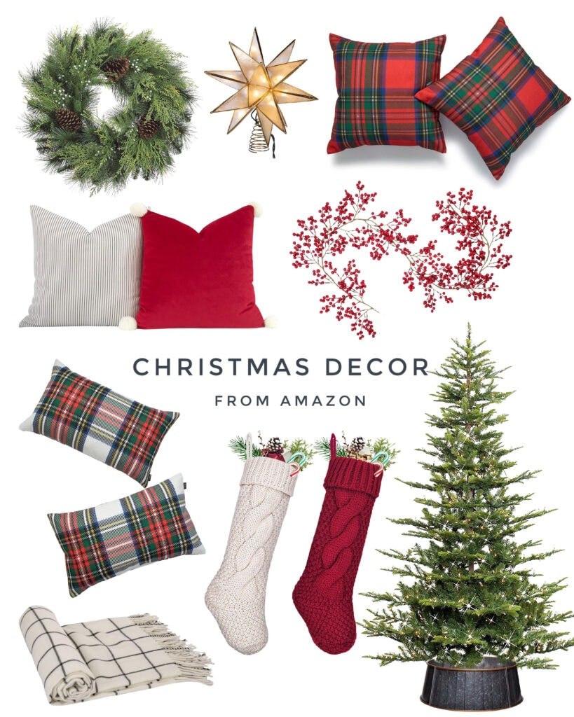 Beautiful Amazon Christmas decor finds, including a faux cedar wreath, velvet and plaid pillow covers, chunky knit stocking, red berry garland and a natural looking faux Christmas tree.