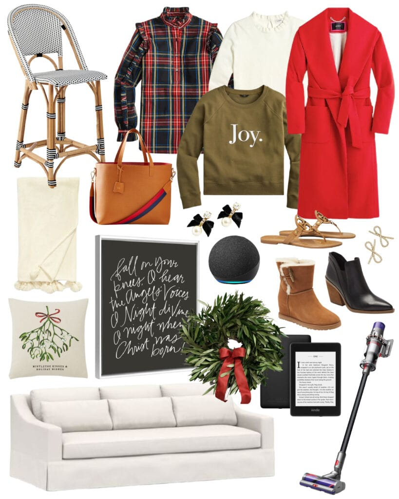 Top picks from the best Black Friday Sales 2020! Includes a linen sofa, Christmas art, woven counter stools, a fresh olive wreath, Amazon Kindle, Dyson Cordless Vac, a belted red coat, a plaid ruffle top, Ugg boots and more!