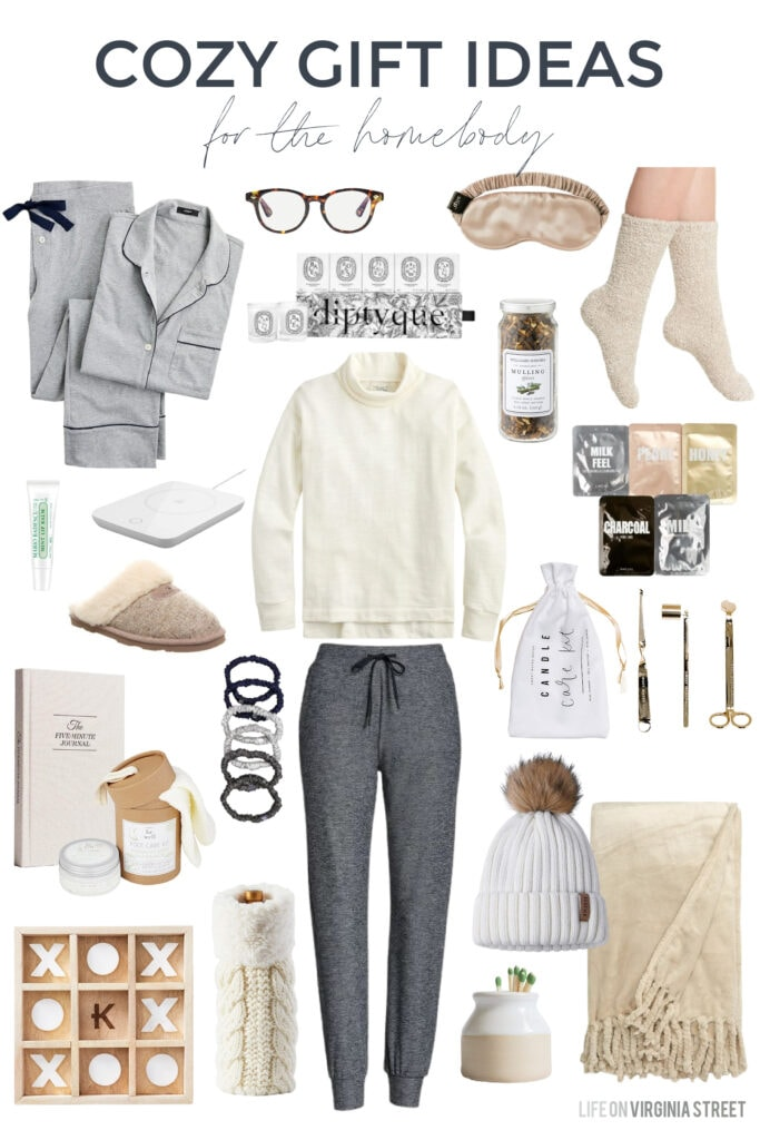 Cozy gift ideas for the homebody in your life! These cozy gifts include the softest pajamas, lounge joggers, slippers, silk eye mask, fuzzy socks, the softest blanket, and more!