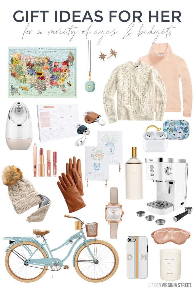 A collection of holiday gift ideas for her that work year-round, as well! Includes a unique puzzle, beautiful jewelry, a face steamer, fleece turtleneck, cableknit sweater, beautiful calendars, a cruiser bike, a white espresso machine, pretty candles, and more!