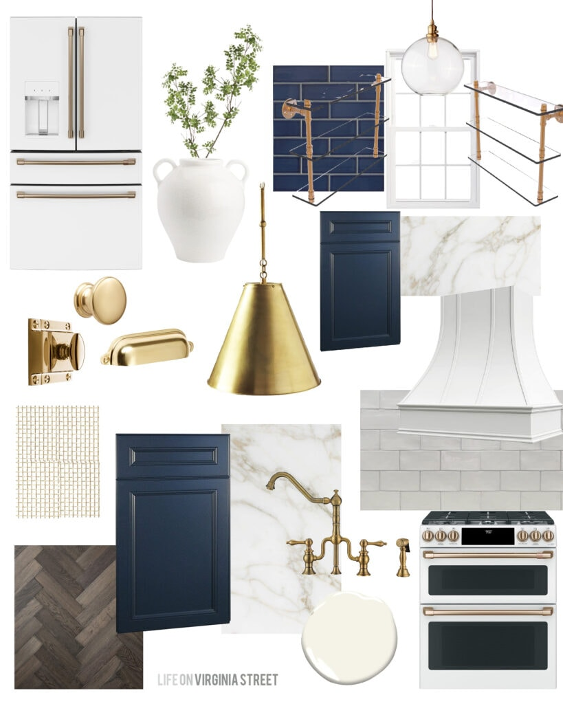 Tudor renovation ideas with a kitchen design board including navy blue subway tile and cabinets, a tall range hood, gold pendant light, walnut tone herringbone wood floors and a gold bridge faucet.