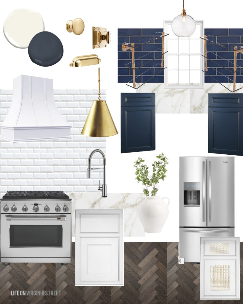 Kitchen design plans for a Tudor revival kitchen with white beveled subway tile, gold and glass shelves, a white range hood, gold cabinet hardware, navy blue subway tile and navy blue cabinets in the pantry.