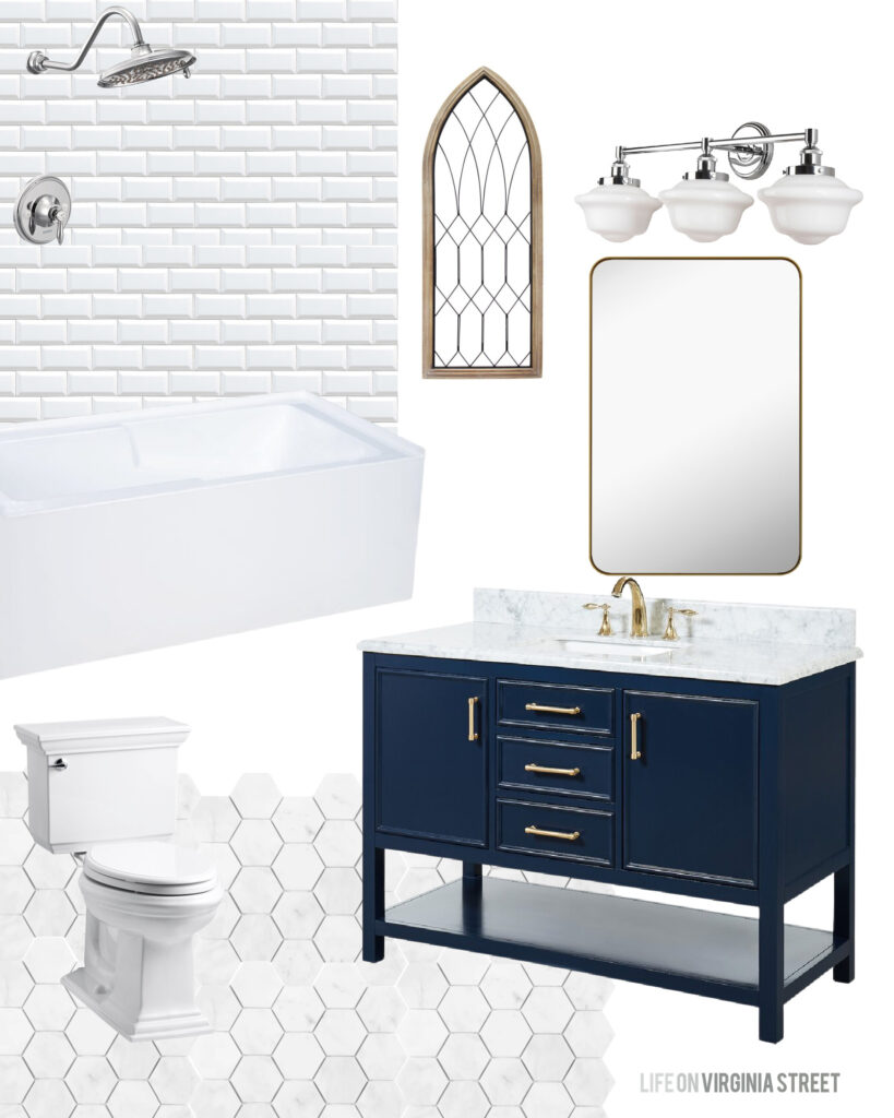 Tudor house renovation ideas for a bathroom with white beveled subway tile, marble hex tile floors, navy blue vanity and milk glass light fixtures.