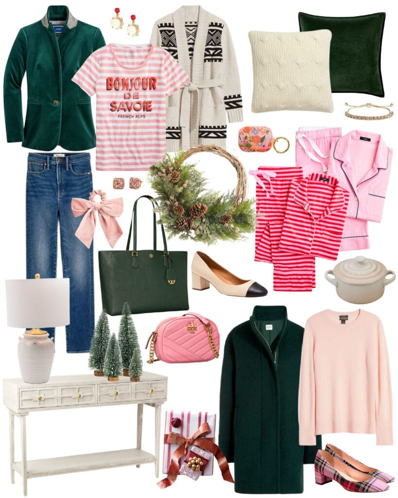 The best weekend sale items for women's fashion and holiday decor! Love this pink, red and dark green color combo!
