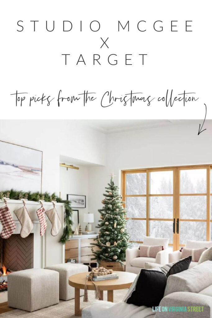 Details on the Studio McGee x Threshold Christmas collection launch at Target! Includes plaid stocking, abstract art, wood bead garland, velvet pillows and more!