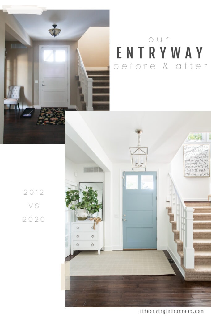 Before and after photos of an entryway now with white painted walls, a blue painted interior door, and neutral decor.